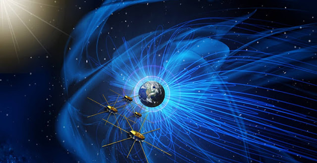 Artist concept of MMS, a mission to study how magnetic fields release energy in a process known as magnetic reconnection. MMS consists of four identical observatories that will fly in a tight formation and provide the first three-dimensional view of magnetic reconnection.  Credit: NASA