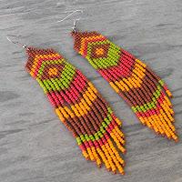 этнические серьги из бисера купить готовые изделия из бисера цена