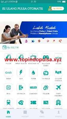 tampilan aplikasi isi ulang pulsa otomatis topindo, apk white label atau apk offline.