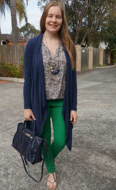 navy waterfall cardigan, green skinny jeans, printed tank and regan satchel | awayfromblue