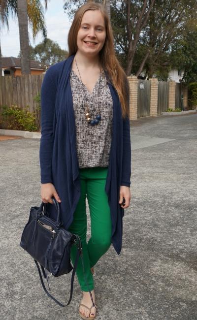 navy waterfall cardigan, green skinny jeans, printed tank and regan satchel | awayfromblue