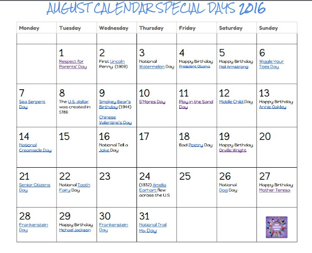 Calendar of special days free monthly printables.