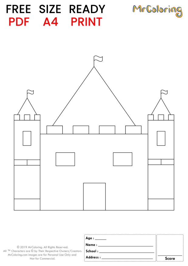 sand castle coloring pages flat for kids