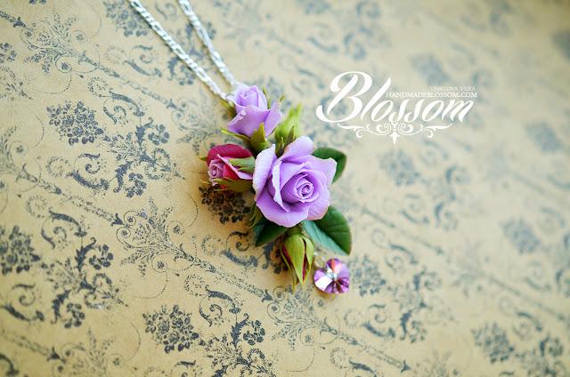 Кулон с розой, handmadeblossom, blossom, vera veselova, вера веселова, фиолетовая розы, фиолетовые розы, кулон с розами, браслет с розами, ручная работа, розы ручной работы, украшения с розами, фимо цветы, пурпурные розы, комплект украшений, реалистичные цветы, handmade, purple roses, handmade roses, rose, violet rose, pendant rose, bracelet rose, gift, etsy, красивый подарок, розы ручной работы