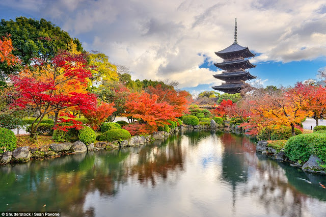 The pagoda of the To-ji Buddhist temple in Kyoto, Japan.