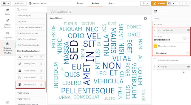 Qlik Sense Word Cloud nach Häufigkeit sortieren