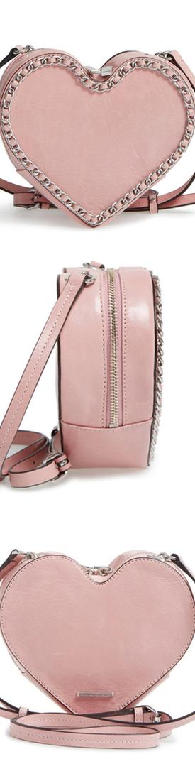 Rebecca Minkoff Chain Heart Crossbody Bag, Lilac Rose/Silver