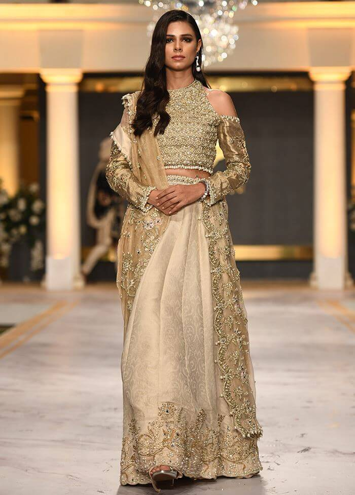 Deepak Parwani Open Shoulder Blouse with Panel Lehenga Bridal Dress