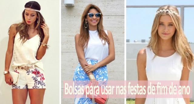 Fashionistas e modelos usando bolsas femininas em seus looks de fim de ano.