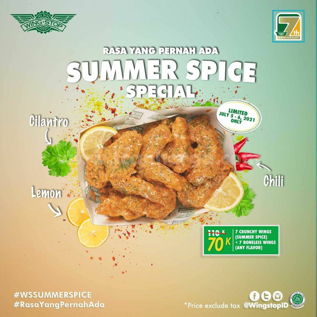 Wingstop Promo Paket Summer Spice Special only 70K