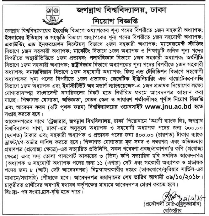 Jagannath University Professor, Assistant Professor and Lecturer Job Circular 2018