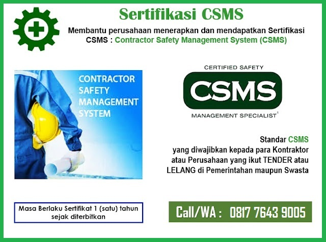 Sertifikasi CSMS - Contractor Safety Management System