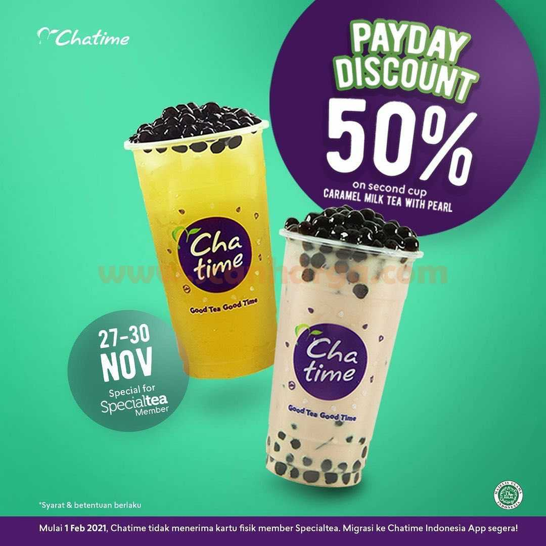 Chatime Promo Payday Diskon 50% Caramel Milk Tea with Pearl