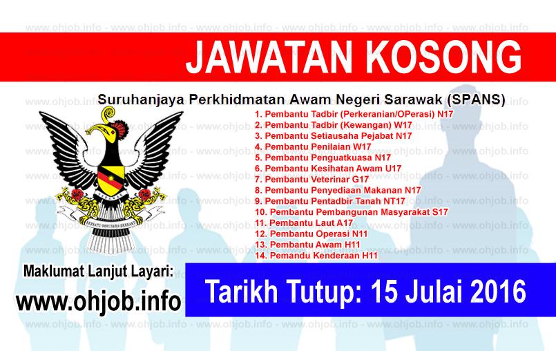 Jawatan Kerja Kosong Suruhanjaya Perkhidmatan Awam Negeri Sarawak (SPANS) logo www.ohjob.info julai 2016