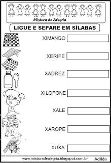 Separando em sílabas, desenhos com X