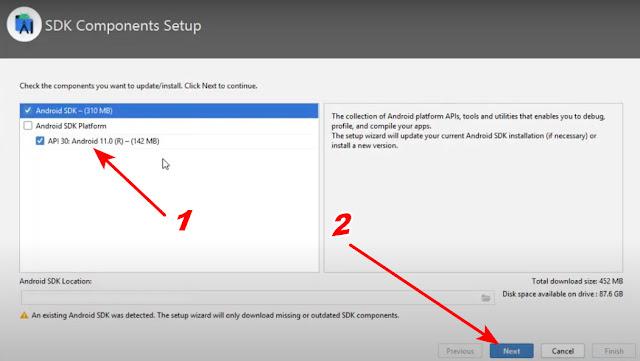 رسالة للمشكلة sdk Android Studio المشكلة الأولى