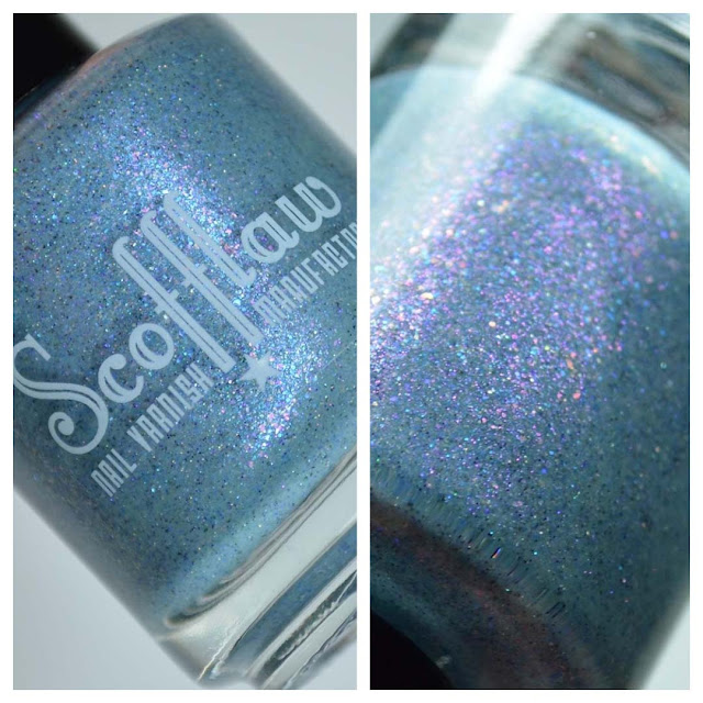 blue nail polish bottle close up