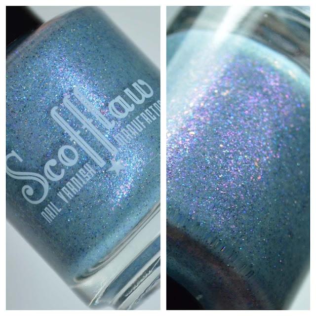 blue nail polish bottle close up