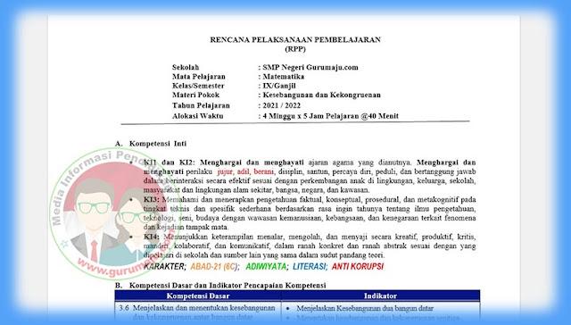 Download RPP Anti Korupsi SMP Kelas 9 Mapel Matematika Terbaru