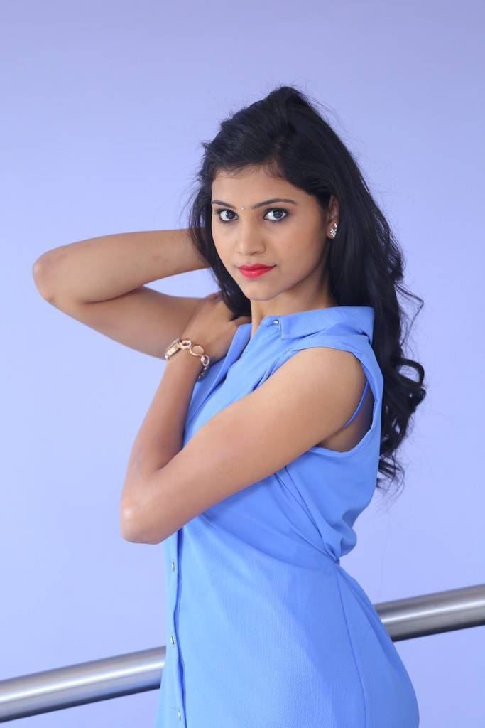 Long Hair Beautiful Indian Girl Mounika Stills In Blue Dress
