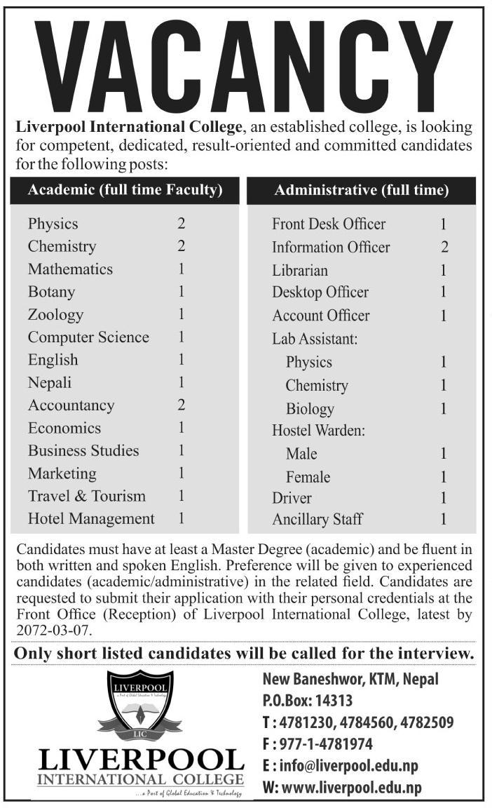 Teaching Job Vacancy in Kathmandu ○ Liverpool International