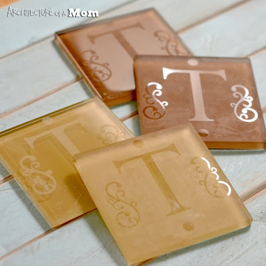 Etched Monogram Glass Tile Coasters