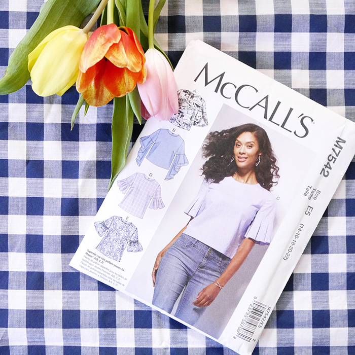 nähen, sewing, DIY, gingham, Vichykaro, bellsleeves, Glockenärmel, McCalls pattern, M7543