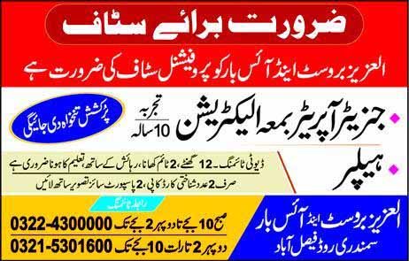 Private Jobs in Faisalabad for Generator Operator, Helpers
