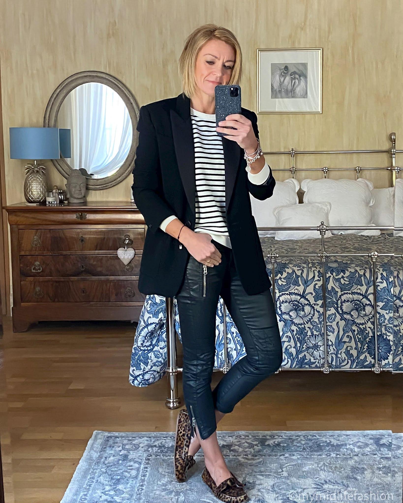 my midlife fashion, baukjen samara organic sweatshirt, Isabel Marant oversized blazer, Isabel Marant Etoile biker trousers, Isabel Marant Etoile leopard print loafers