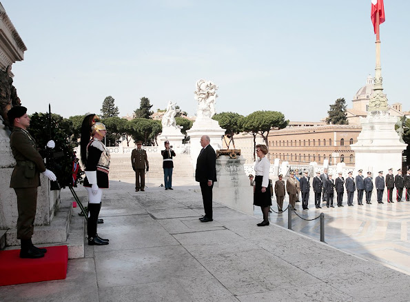 King Harald and Queen Sonja of Norway leave a wreath at the Altare della Patria (Altar of the Fatherland -Tomb of the Unknown Soldier)diamond earrings, summer fashions