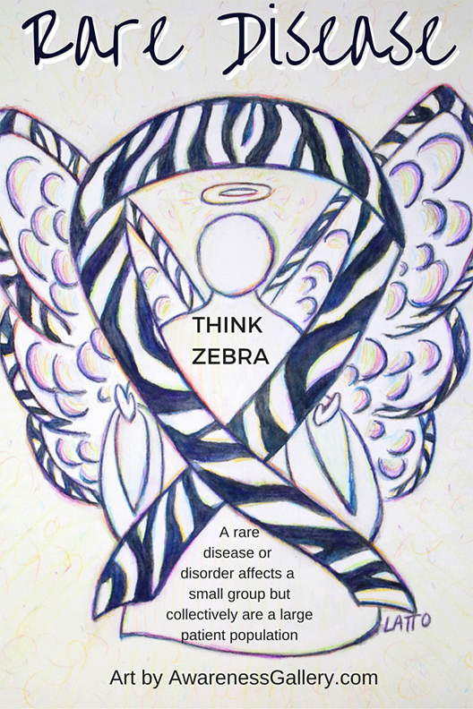 Rare Diseases Zebra Stripes Awareness Ribbon Angel Art Painting Picture