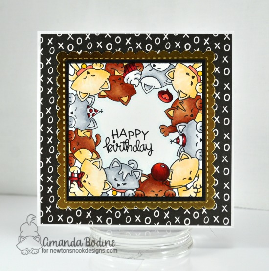 Cat Birthday Card by Amanda Bodine | Newton's Block Party Stamp Set and Frames Squared Die Set by Newton's Nook Designs #newtonsnook #handmade