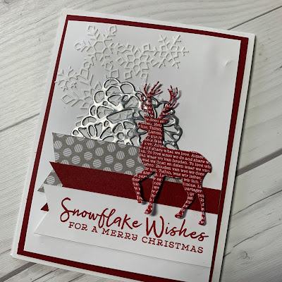 White snowflake Christmas Card with three banners and a die cut deer
