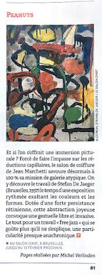 article de michel verlinden à propos de l'exposition de stefan de jaeger au salon d'art dans le vif du 21 janvier 2021