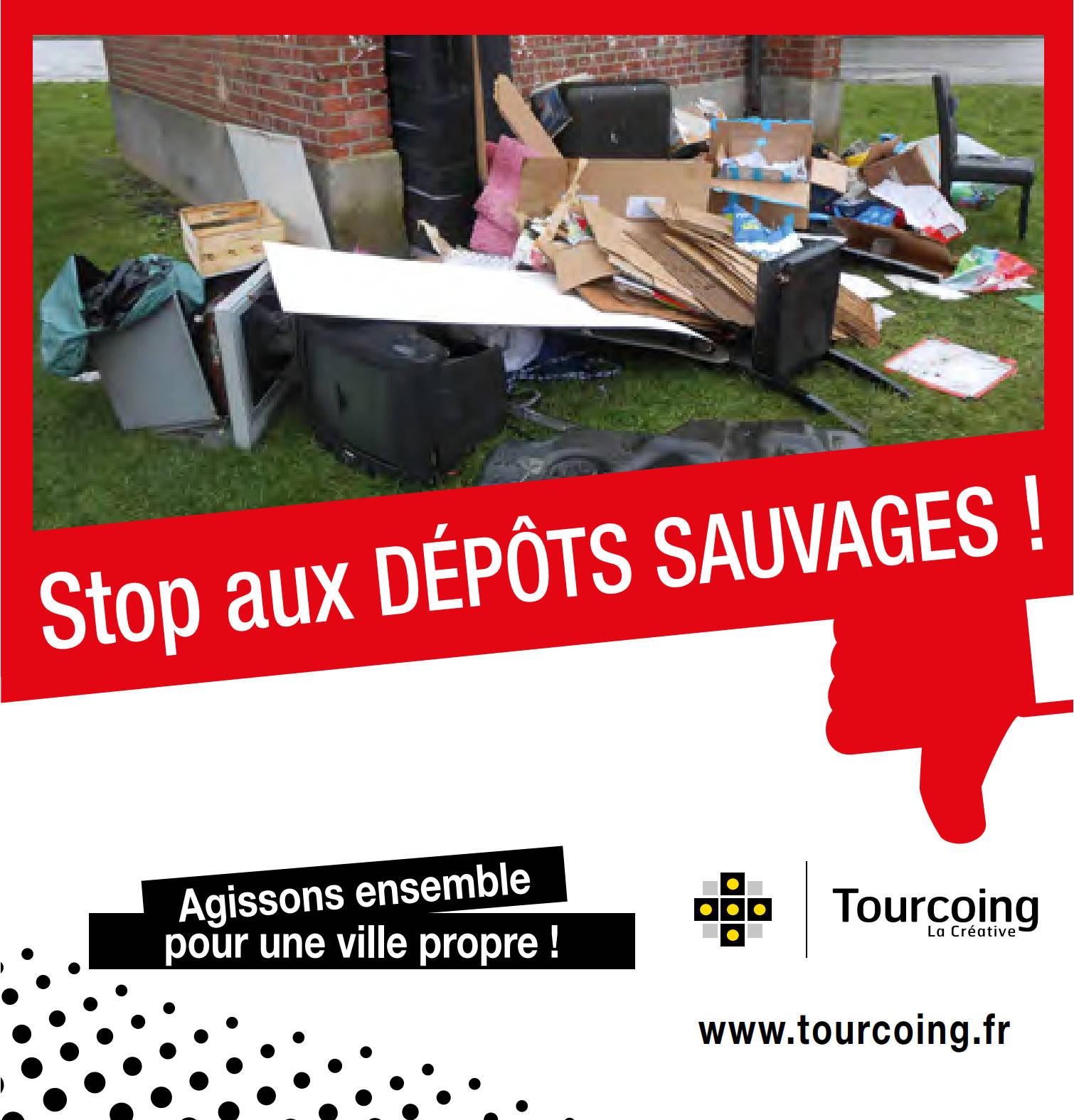 Affiche Stop aux dépôts sauvages Tourcoing