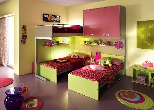 حُجَرنوم أطفال لون بيج مع فوشيا وبِنْك بسريرين بناتى غرفة هادئة