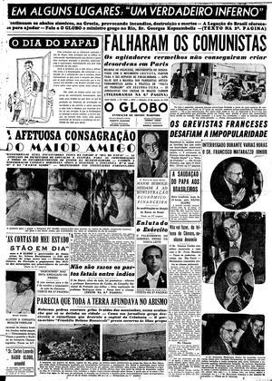 Exemplar do Jornal O GLOBO, em 1953, divulgando o dia do papai no Brasil