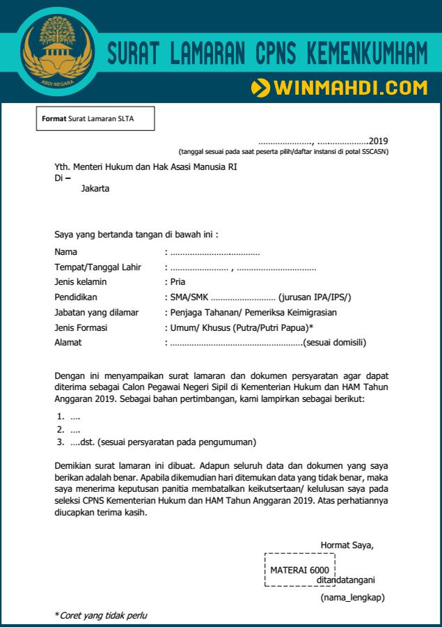 Format Surat Lamaran CPNS Kemenkumham SLTA