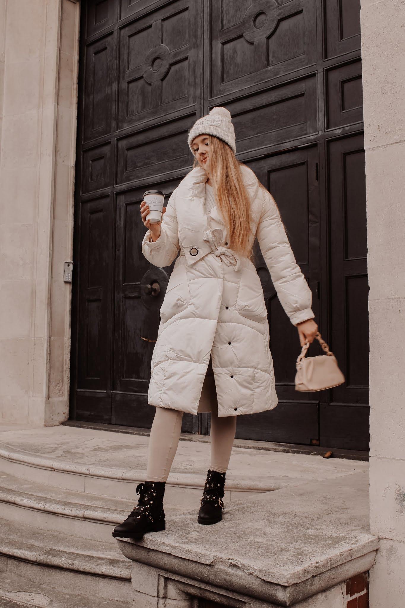 white puffer duvet midi coat