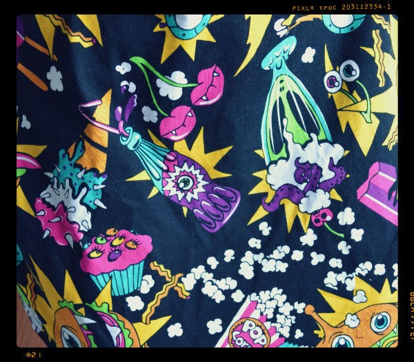 close up of food and drink print on Killer Munchies Iron Fist dress