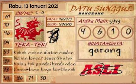 Prediksi HK Rabu 13 Januari 2021 - Datu Sunggul