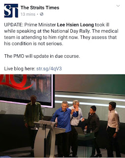 VIDEO PM SINGAPORE, LEE COLLAPSE DURING NATIONAL DAY RALLY