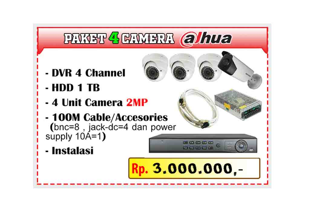 Paket CCTV Dahua 4 Channel Camera