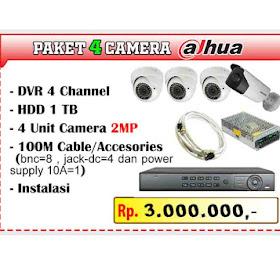 Paket CCTV Dahua 4 Channel Camera <del>Rp 4.300.000,-</del> <price>Rp 3.000.000,-</price> <code>PAKET-DAHUA4CH-AKHIRTAHUN-0002</code>