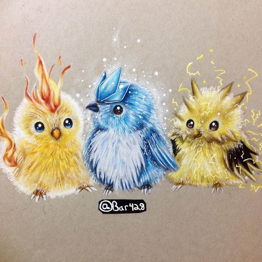 10-Moltres-Articuno-and-Zapdos-Estefani-Barbosa-Fantasy-Animals-in-Pencil-Drawings-www-designstack-co