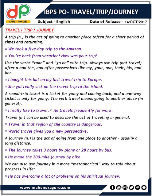 DP | Travel / Trip / Journey for IBPS PO | 14 - 10 - 2017