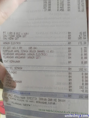 SESB receipt with GST 6%