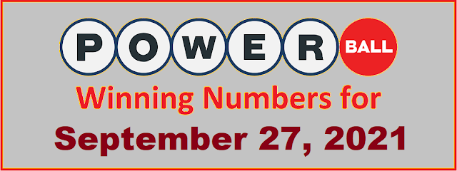 PowerBall Winning Numbers for Monday, September 27, 2021