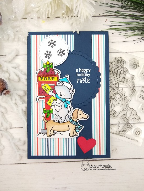 A happy holiday note by Diane features Holiday Post and Circle Frames by Newton's Nook Designs; #newtonsnook, #cardmaking, #christmas