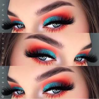 sombras de ojos azul y naranja